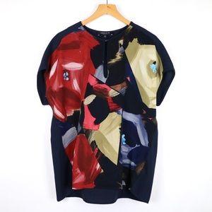 Lafayette 148 Navy floral keyhole blouse